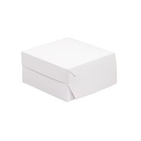 Cukrárska krabica 200x200x100 mm, bielo-sivá