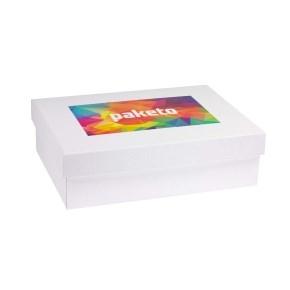 Darčeková krabica 350x250x100 mm, tlač na veko 250x150 mm, biela