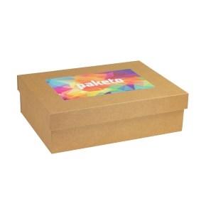 Darčeková krabica 350x250x100 mm, tlač na veko 250x150 mm, hnedá - kraft