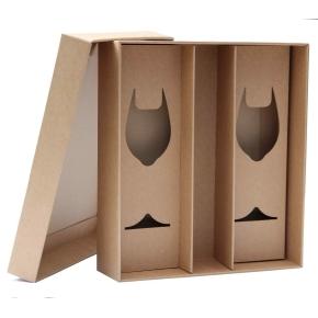 Darčeková krabica 360x330x95 mm, na fľašu vína a poháriky, dno + veko, hnedá