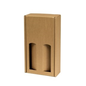 Darčeková krabica na víno 175x350x85 mm, 2 x 0,75 l, hnedá-kraft
