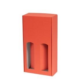 Darčeková krabica na víno 175x350x85 mm, 2 x 0,75 l, koralová
