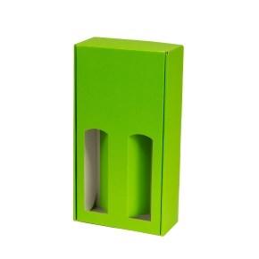 Darčeková krabica na víno 175x350x85 mm, 2 x 0,75 l, zelená