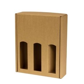 Darčeková krabica na víno 265x350x85 mm, 3 x 0,75 l, hnedá-kraft