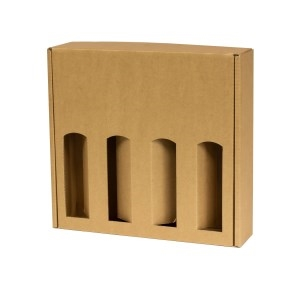 Darčeková krabica na víno 355x350x85 mm, 4 x 0,75 l, hnedá-kraft