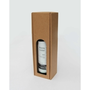 Darčeková krabica na víno 80x315x80 mm, 1 x 0,75l, hnedá-kraft