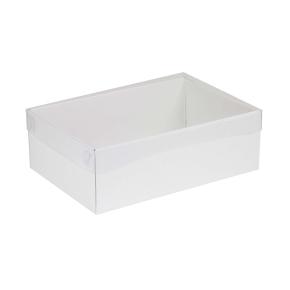 Darčeková krabica s priehľadným vekom 300x200x100 mm, biela