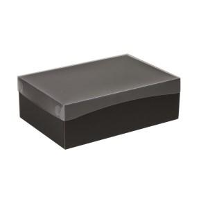 Darčeková krabica s priehľadným vekom 300x200x100 mm, čierna
