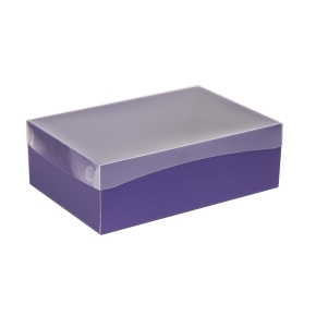 Darčeková krabica s priehľadným vekom 300x200x100 mm, fialová