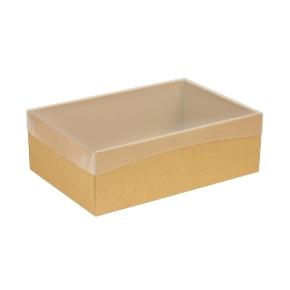 Darčeková krabica s priehľadným vekom 300x200x100 mm, hnedá - kraft