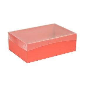 Darčeková krabica s priehľadným vekom 300x200x100 mm, koralová