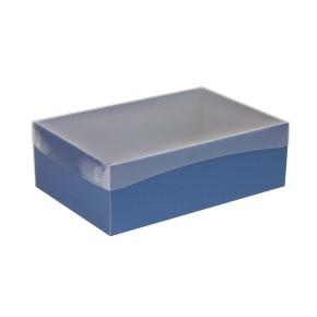 Darčeková krabica s priehľadným vekom 300x200x100 mm, modrá