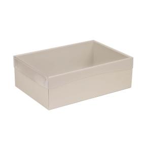 Darčeková krabica s priehľadným vekom 300x200x100 mm, sivá