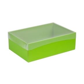 Darčeková krabica s priehľadným vekom 300x200x100 mm, zelená
