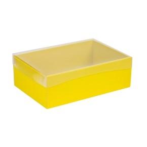 Darčeková krabica s priehľadným vekom 300x200x100 mm, žltá