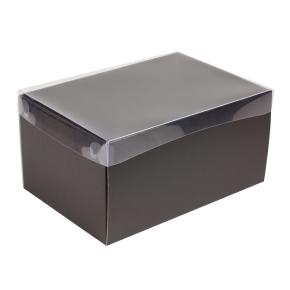 Darčeková krabica s priehľadným vekom 300x200x150/35 mm, čierna