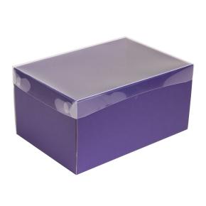 Darčeková krabica s priehľadným vekom 300x200x150/35 mm, fialová