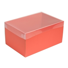 Darčeková krabica s priehľadným vekom 300x200x150/35 mm, koralová