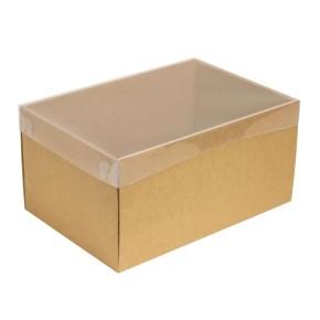 Darčeková krabica s priehľadným vekom 300x200x150/35 mm, kraftová - hnedá