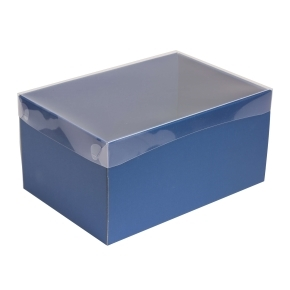 Darčeková krabica s priehľadným vekom 300x200x150/35 mm, modrá