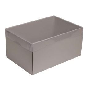 Darčeková krabica s priehľadným vekom 300x200x150/35 mm, sivá