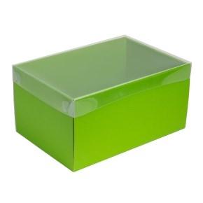 Darčeková krabica s priehľadným vekom 300x200x150/35 mm, zelená