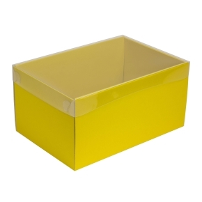 Darčeková krabica s priehľadným vekom 300x200x150/35 mm, žltá
