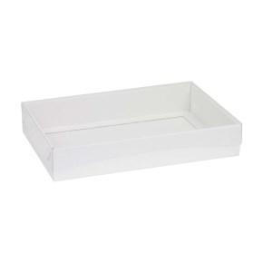 Darčeková krabica s priehľadným vekom 300x200x50 mm, biela