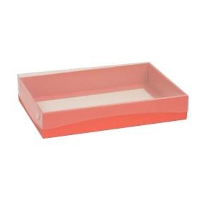 Darčeková krabica s priehľadným vekom 300x200x50 mm, koralová