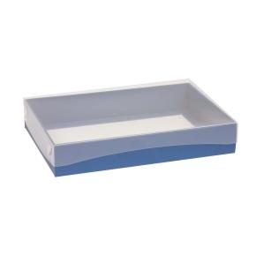 Darčeková krabica s priehľadným vekom 300x200x50 mm, modrá