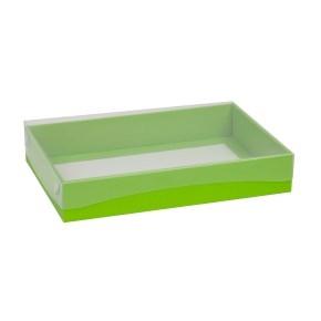 Darčeková krabica s priehľadným vekom 300x200x50 mm, zelená