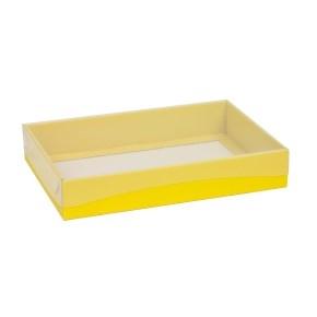 Darčeková krabica s priehľadným vekom 300x200x50 mm, žltá
