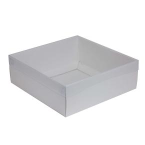 Darčeková krabica s priehľadným vekom 300x300x100/35 mm, biela