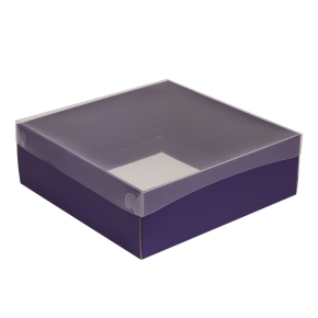 Darčeková krabica s priehľadným vekom 300x300x100/35 mm, fialová