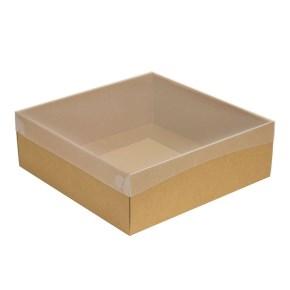 Darčeková krabica s priehľadným vekom 300x300x100/35 mm, kraftová - hnedá