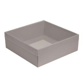 Darčeková krabica s priehľadným vekom 300x300x100/35 mm, sivá