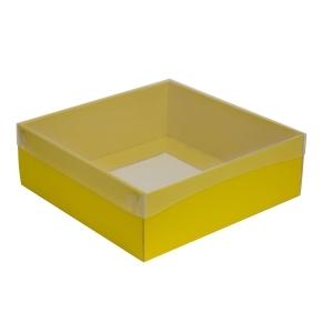 Darčeková krabica s priehľadným vekom 300x300x100/35 mm, žltá