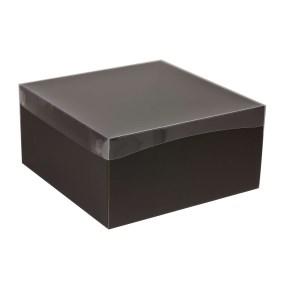Darčeková krabica s priehľadným vekom 300x300x150 mm, čierna