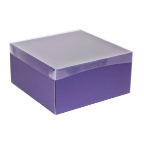 Darčeková krabica s priehľadným vekom 300x300x150 mm, fialová
