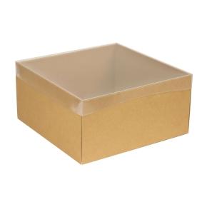 Darčeková krabica s priehľadným vekom 300x300x150 mm, hnedá - kraft