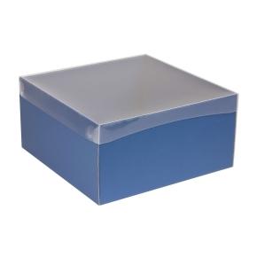 Darčeková krabica s priehľadným vekom 300x300x150 mm, modrá