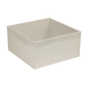 Darčeková krabica s priehľadným vekom 300x300x150 mm, sivá