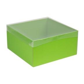Darčeková krabica s priehľadným vekom 300x300x150 mm, zelená