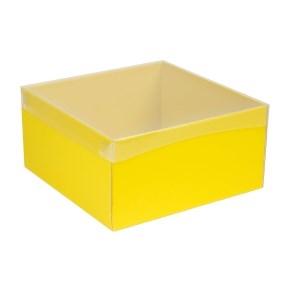 Darčeková krabica s priehľadným vekom 300x300x150 mm, žltá