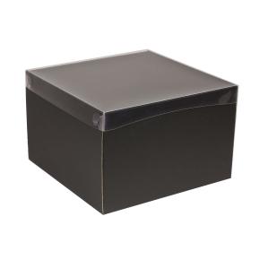 Darčeková krabica s priehľadným vekom 300x300x200 mm, čierna