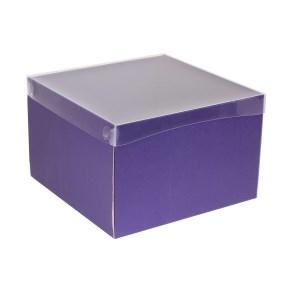 Darčeková krabica s priehľadným vekom 300x300x200 mm, fialová