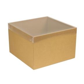 Darčeková krabica s priehľadným vekom 300x300x200 mm, hnedá - kraft