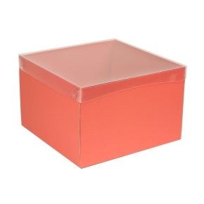 Darčeková krabica s priehľadným vekom 300x300x200 mm, koralová