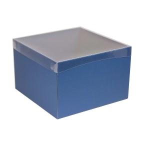 Darčeková krabica s priehľadným vekom 300x300x200 mm, modrá