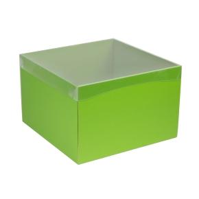 Darčeková krabica s priehľadným vekom 300x300x200 mm, zelená
